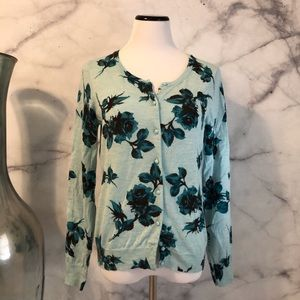 🆕 Talbots Merino Wool Floral Cardigan Sweater M